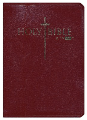 KJV Easy Reader Sword Bible, Personal Size, Genuine Leather, Burgundy   -