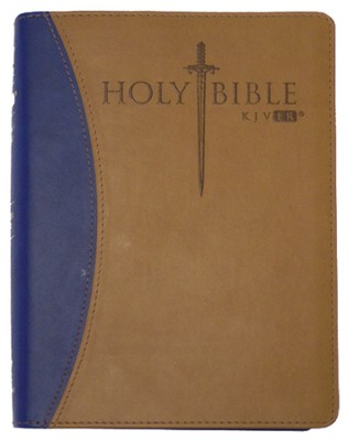 KJV Easy Reader Sword Bible, Personal Size, Leatherlike Blue/Tan Duotone  -