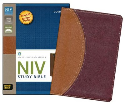NIV Study Bible, Compact Indexed, Leather Bound, Tan/Burgundy  -