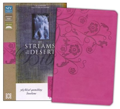 NIV Streams in the Desert Bible: 365 Thirst-Quenching Devotions, Italian Duo-Tone, Raspberry  -     By: Zondervan