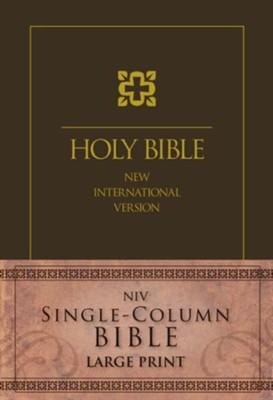 NIV Single-Column Bible Large Print, Brown  -