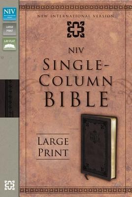 NIV Single-Column Bible Large Print, Italian Duo-Tone, Brown  -     By: Zondervan