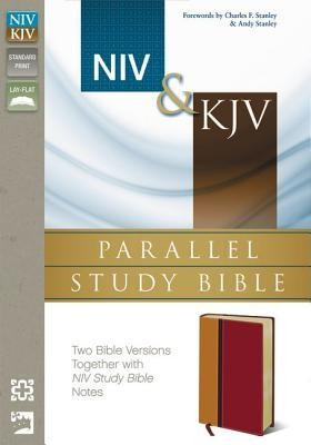 NIV & KJV Parallel Study Bible: Imitation Leather,  Amber and Rich Red  -