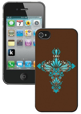 Cross iPhone 4 Case, Brown and Blue  -