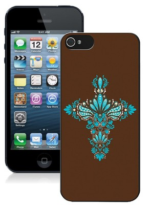 Cross iPhone 5 Case, Brown and Blue  -