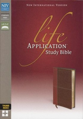 NIV Life Application Study Bible, Imitation Leather, Carmel Dark Carmel, Indexed  -