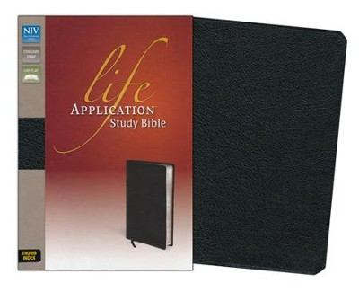 NIV Life Application Study Bible, Bonded Leather, Black Thumb-Indexed - Imperfectly Imprinted Bibles  -