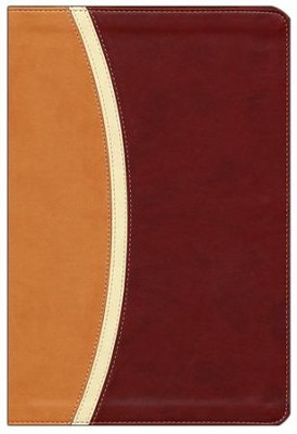 NIV Reference Bible, Largeprint, Camel/Burgundy Duo-Tone - Imperfectly Imprinted Bibles  -