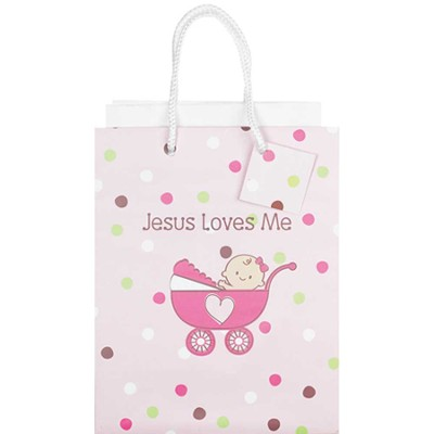 Jesus Loves Me Gift Bag, Pink, Small  -