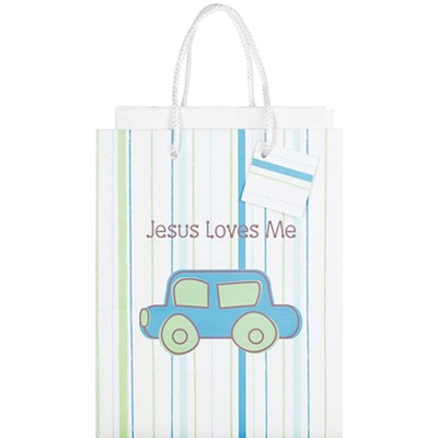 Jesus Loves Me Gift Bag, Blue, Medium  -