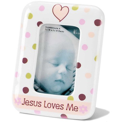 Jesus Loves Me, Photo Frame, Pink  -