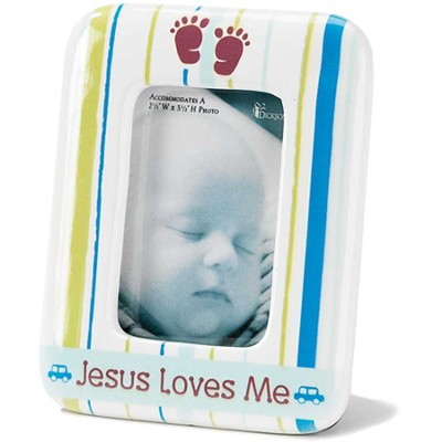 Jesus Loves Me, Photo Frame, Blue  -