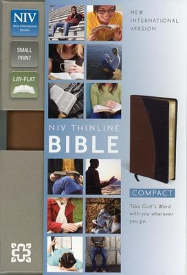 NIV Compact Thinline Bible, Tan/Black Duo-Tone, Limited Edition - Imperfectly Imprinted Bibles  -