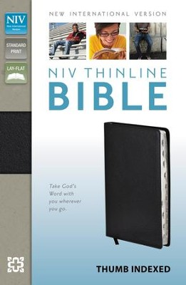 NIV Thinline Bible, Black, Thumb-Indexed  -