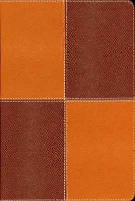 NIV Thinline Large-Print Bible--soft leather-look, caramel/chocolate  -