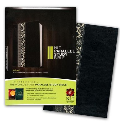 NLT Parallel Study Bible, TuTone IL Black Ornate Floral Fabric  -