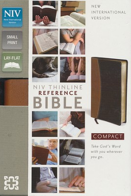 NIV Thinline, Compact, Reference Bible, Tan/Black   -
