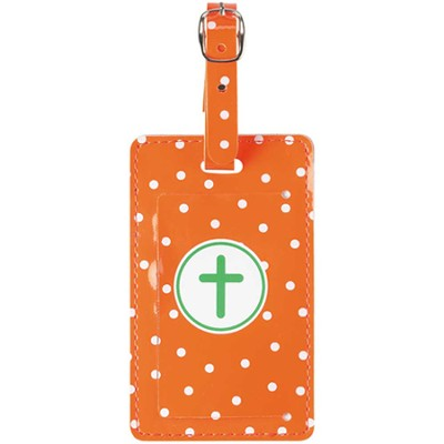 Luggage Tag with Cross, Orange  -