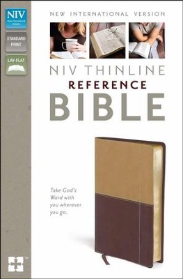 NIV Thinline Reference Bible, Camel/Burgundy Duo-Tone  -