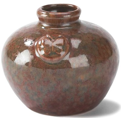 Stoneware Vase, Butterfly Design, Brown  -