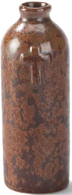 Stoneware Vase, Cross Design, Brown  -