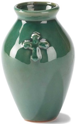 Stoneware Vase, Cross Design, Green  -