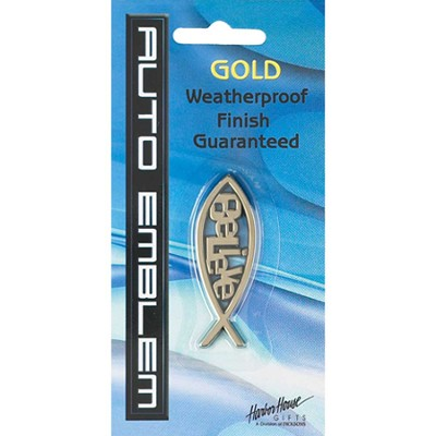 Fish with Believe Auto Emblem, Gold, Medium  -