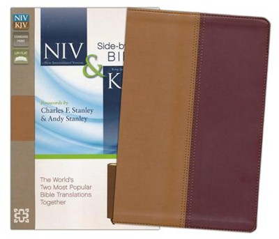 NIV and KJV Side-by-Side Bible , Imitation Leather, Tan & Black Cherry  -