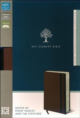 NIV Student Bible, Italian Duo-Tone, Walnut/Espresso  - Imperfectly Imprinted Bibles  -