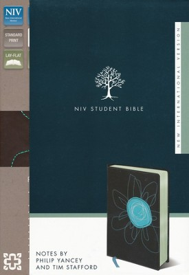 NIV Student Bible, Italian Duo-Tone, Espresso/Turquoise Flower  -