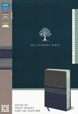 NIV Student Bible, Italian Duo-Tone, Gray/Slate Blue  - Slightly Imperfect  -