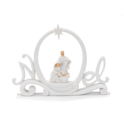 Noel Figurine with Holy Family, White  -