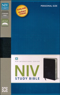 NIV Study Bible, Personal Size, Bonded Leather, Black  -