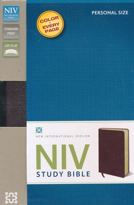 NIV Study Bible, Personal Size, Bonded Leather, Burgundy  -