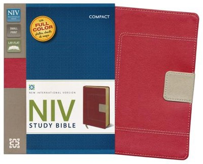 NIV Study Bible, Compact, Imitation Leather, Red Tan  -
