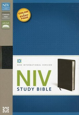NIV Study Bible, Bonded Leather, Black - Imperfectly Imprinted Bibles  -