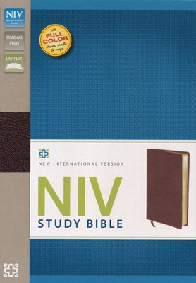NIV Study Bible, Bonded Leather, Burgundy  -