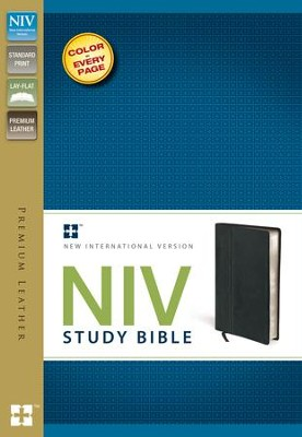 NIV Study Bible, Genuine Cowhide Leather, Ebony - Slightly Imperfect  -