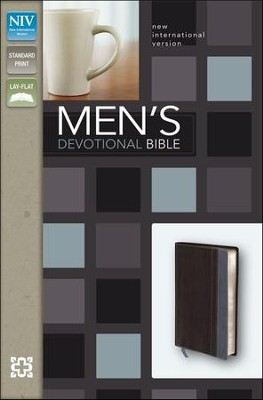 NIV Men's Devotional Bible, Italian Duo-Tone, Charcoal/Steel Blue - Imperfectly Imprinted Bibles  -     By: Zondervan
