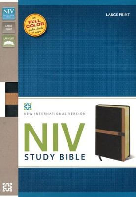 NIV Study Bible, Large Print, Imitation Leather, Black Carmel - Slightly Imperfect  -