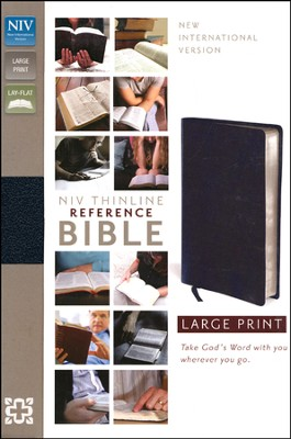 NIV Thinline Reference Bible, Large Print,  Bonded Leather, Navy  -