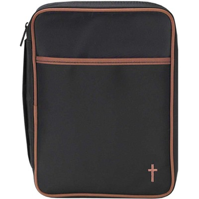 Microfiber Bible Cover with Cross, Black and Brown, Large  -