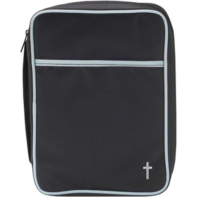 Microfiber Bible Cover with Cross, Black and Gray, Medium  -