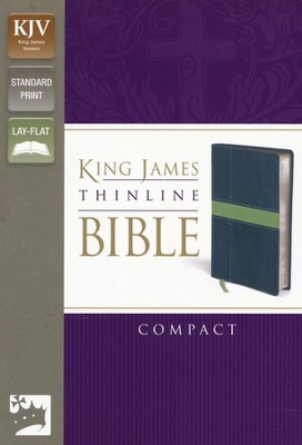 KJV Thinline Bible Compact, Italian Duo-Tone, Midnight Blue/Moss Green  -