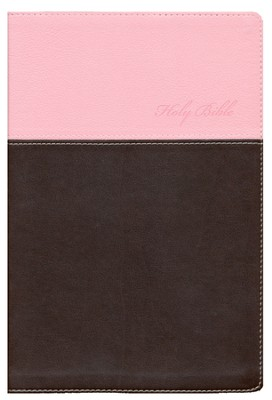 KJV, Thinline Bible, Large Print, Italian Duo-Tone, Pink/Chocolate  -