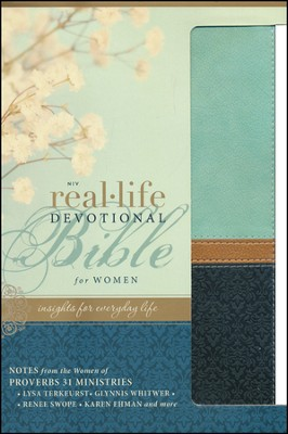 NIV Real-Life Devotional Bible for Women: Insights for Everyday Life, Italian Duo-Tone, Sea Glass/Deep Sea  -     By: Lysa TerKeurst