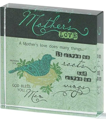 Mothers Love Glass Block  -