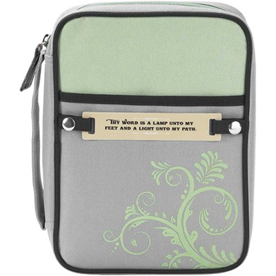 Swirl Design Bible Cover with Interchangeable Verse Tags, Green and Gray, Medium  -