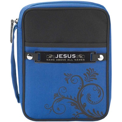 Swirl Design Bible Cover with Interchangeable Verse Tags, Black and Blue, Large  -