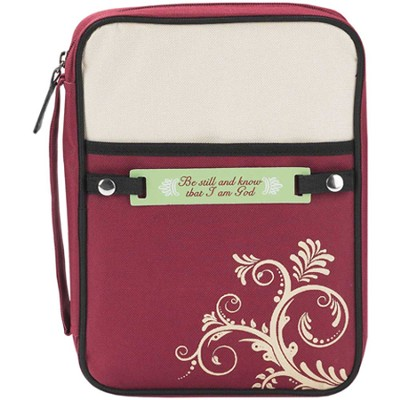 Swirl Design Bible Cover with Interchangeable Verse Tags, Red and Tan, Medium  -